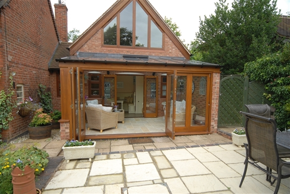 Oak alternative Idigbo Stained Conservatory Designs lean ...