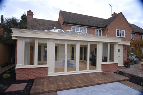 pullee hardwood orangery in cream painted finish with